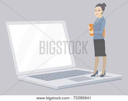Vector Illustration Portrait Of A Miniature  Woman Manager Keeps A Folder With Documents In Hands St