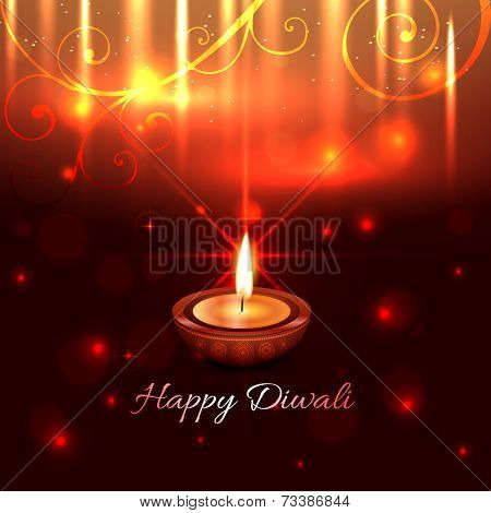 Vector artistic design of diwali diya