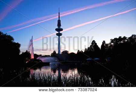 Hamburg Television Tower After Sunset, Germany