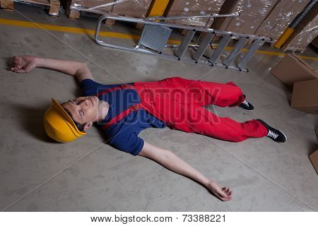 Unconscious Man In A Factory