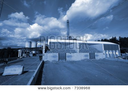 Bio Fuel Power Plant In Blue Tone