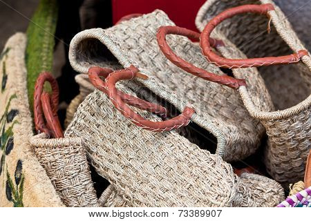 Handmade Wicker Female Bags At French Market