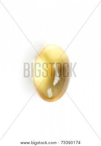 Cod-liver oil capsule, isolated. Healthcare concept.