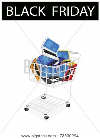 Laptop Computer in Black Friday Shopping Cart