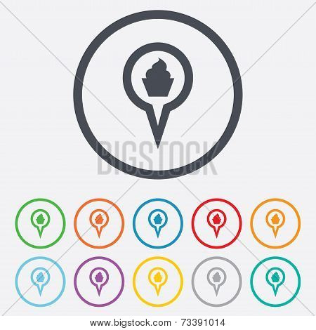 Map pointer food sign icon. Marker symbol.