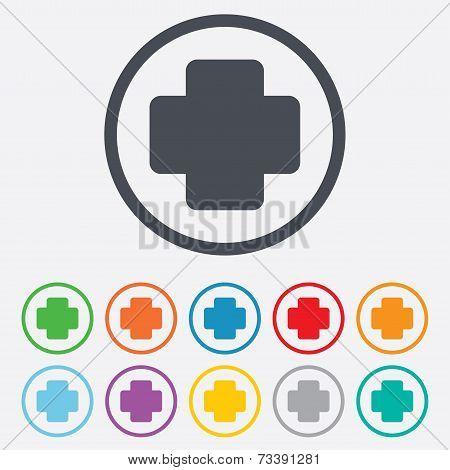 Medical cross sign icon. Diagnostics symbol.