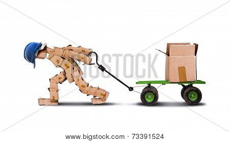 Workman Dragging Large Load