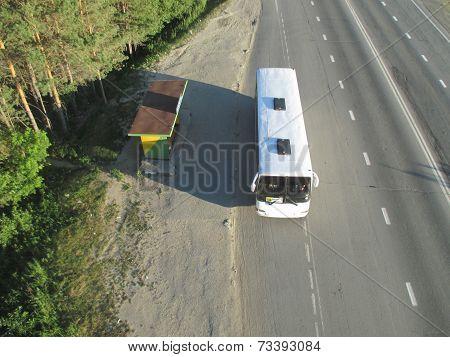 Long-distanse bus near bus stop