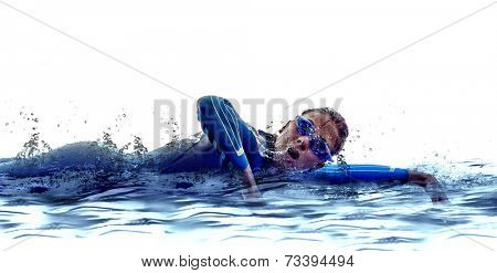 woman triathlon ironman athlete  swimmers on white background