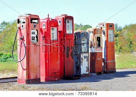 Vintage Abandoned Gas Tanks At Stations