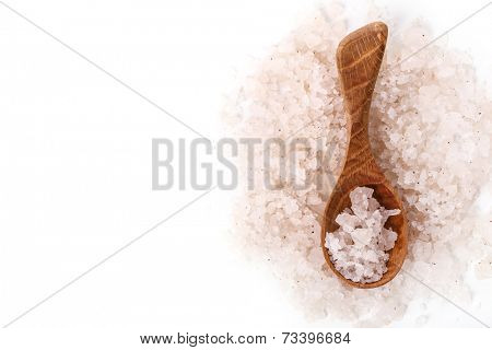Heap of sea salt on a white background