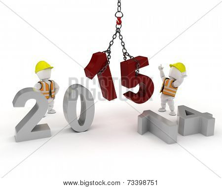 3D render of a man with Celebrating the New Year