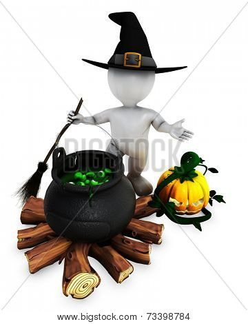 3D Render of Morph Man Witch with cauldron