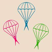 image of parachute  - Colorful vector parachute jumper icons on retro background - JPG