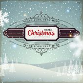foto of christmas flower  - Merry Christmas and Happy New Year 2015 Label - JPG