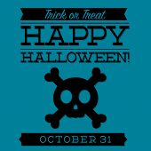 stock photo of skull cross bones  - Skull And Cross Bones Typographic Halloween Card In Vector Format - JPG