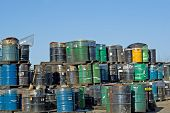 Barrels of waste from manufacturing.
