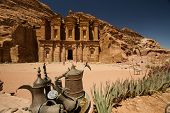 pic of camel-cart  - Facade of the Monastery one of the famous monuments of the ancient Nabatean city of Petra Jordan - JPG