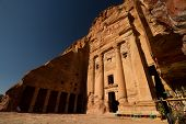 pic of camel-cart  - Facade of the beautiful building of the Royal Tombs in the archaeological site of Petra Jordan - JPG