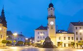 picture of banska  - Town square of Banska Bystrica after dusk - JPG