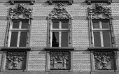 picture of tenement  - Architectural details on the facade of Art Noveau tenement in Katowice - JPG