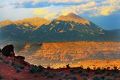 stock photo of southwest  - La Salle Mountains Red Rock Canyon Arches USA Southwest. ** Note: Visible grain at 100%, best at smaller sizes - JPG