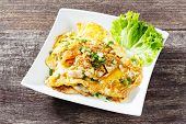image of rice noodles  - Close up stir fried fresh rice fat noodles with chicken and egg - JPG
