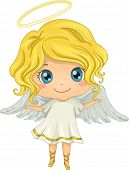 picture of little angel  - Illustration Featuring a Little Girl Dressed as an Angel - JPG