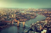 image of london night  - London aerial view with  Tower Bridge in sunset time - JPG