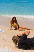 foto of bimbo  - Photographer Photoshoot on the beach with beautiful bikini model - JPG