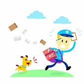 picture of chase  - A dog chasing after a mailman  - JPG