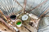 picture of septic  - Inside of temporary toilet at construction site - JPG