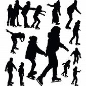 stock photo of skate  - People having fun on ice skating silhouette vector - JPG