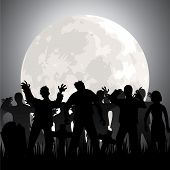 stock photo of cemetery  - Halloween background with zombies - JPG