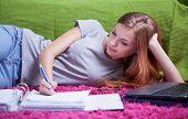 stock photo of homework  - Teenage girl doing her homework in binder - JPG