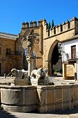 stock photo of baeza  - Fountain of the lions in the Plaza de Populo  - JPG