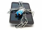 stock photo of shackles  - mobile security with mobile phone and lock - JPG