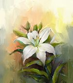 picture of wall painting  - White lily flower - JPG