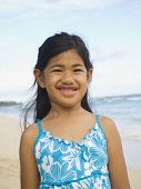 stock photo of pacific islander ethnicity  - Pacific Islander girl at beach - JPG