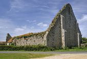 picture of tithe  - Gable Wall of St Leonards Grange medieval tithe barn New Forest