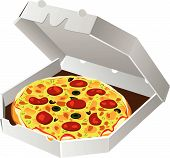 picture of italian food  - vector illustration of italian pizza in paper box - JPG