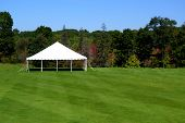 stock photo of canopy roof  - a white events tent on a plush green lawn - JPG