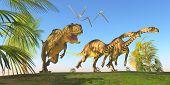 stock photo of behemoth  - Two Massospondylus dinosaurs run for their lives with a Yangchuanosaurus hunting them - JPG