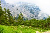 picture of bavarian alps  - Bavarian landscape at Alps with low clouds - JPG