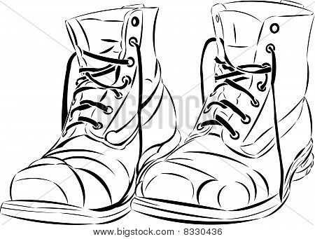 Stock vector : Vector tattoo style boots.