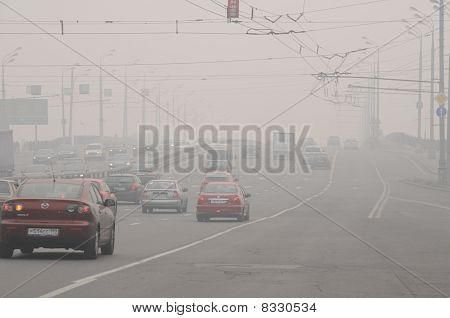 Smog Over The Bridge In Moscow