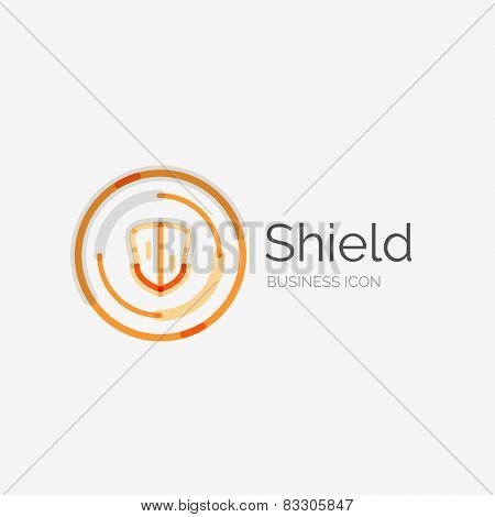 Thin line neat design logo, clean modern concept, shield icon