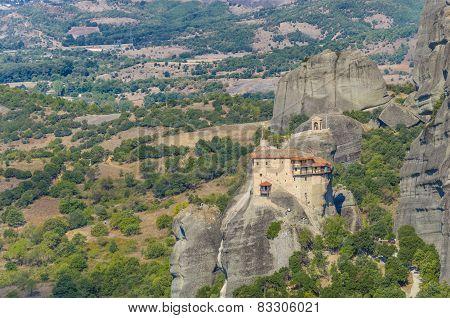 The famous Meteora monastery above Kalampaka city, Greece