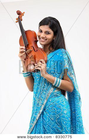 Teenage girl with the violin