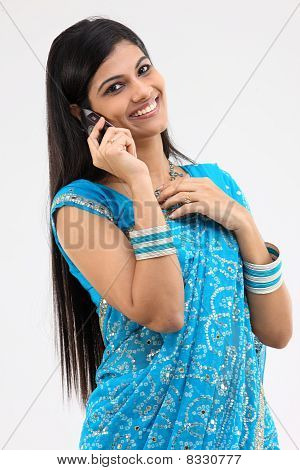 Teenage girl with cellphone